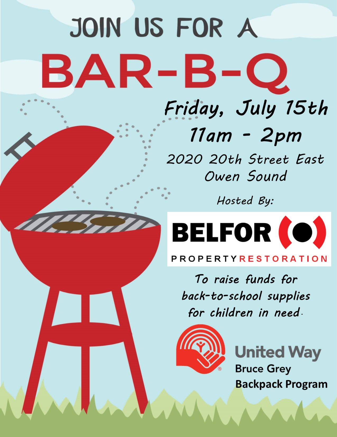 BELFOR hosting BBQ for Backpack Program