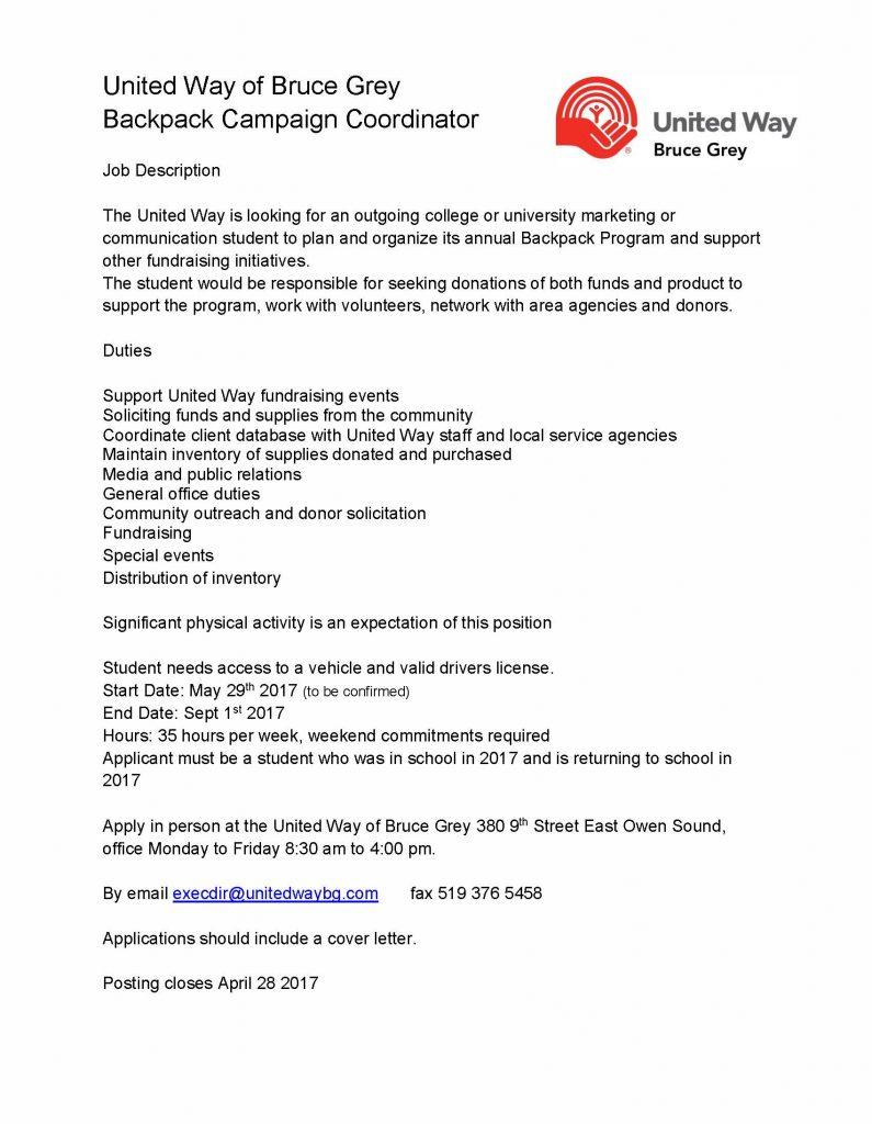 UWBG Backpack Job Description 2017