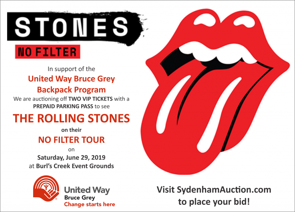 Two VIP Tickets to see The Rolling Stones are up for auction is support of the United Way Backpack Program.