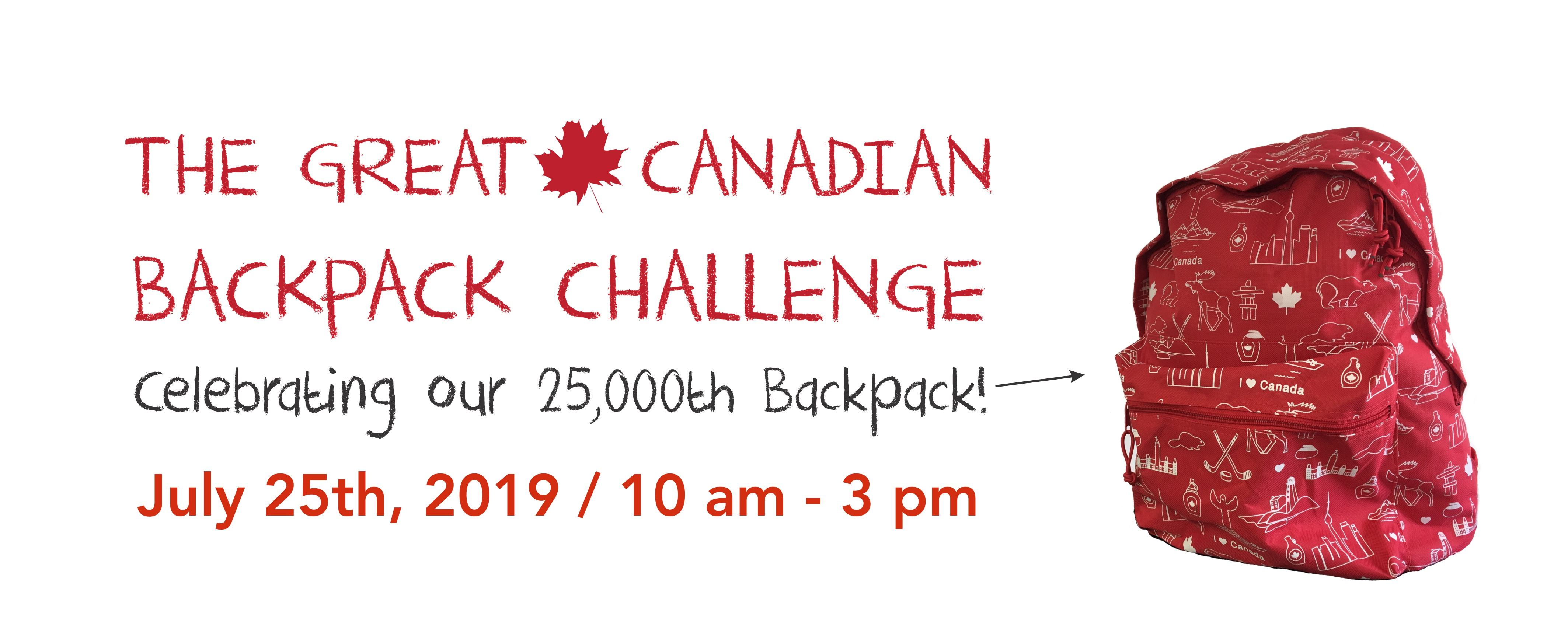 Please join us for our Great Canadian Backpack Challenge!