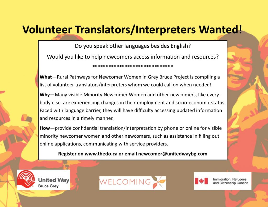 Volunteers and translators are needed.  Can you help?