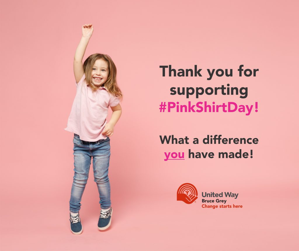 The United Way of Bruce Grey Be Kind Always - Pink Shirt Day.